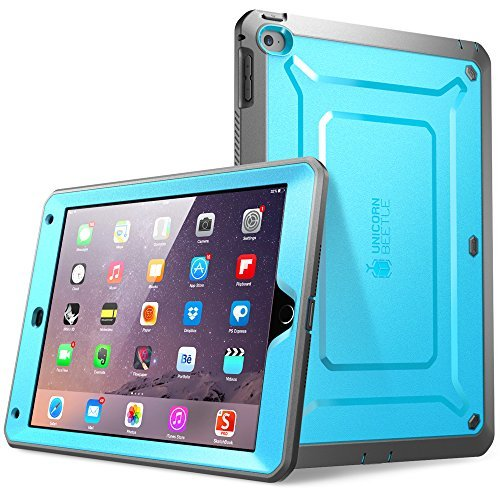 iPad Air 2 Hülle, SUPCASE® [Heavy Duty] Apple iPad Air 2 Schutzhülle [2. Generation] Modell 2014 [Unicorn Beetle PRO Series] Full-body Rugged Hybrid Protective Case Cover mit integriertem Bildschirmschütz, Blau/Schwarz - Dual Layer Design + Anti-Schock Schutzleisten (Blau/Schwarz) (Ipad Air 2 Case Screen Protector)