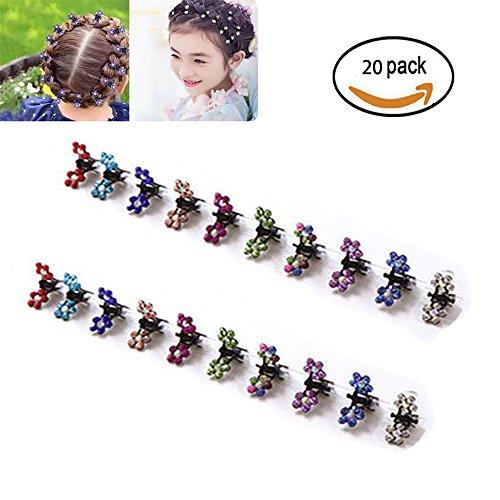 yikimira 20PCS Haarnadeln Haar Pony Mini Kleine Haar Claw Clip Haar Pin Flower Zubehör für Frauen Mädchen Little Girl