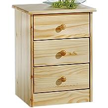 IDIMEX Table de chevet table de nuit RONDO 3 tiroir pin massif vernis  naturel e7f5e83b6480