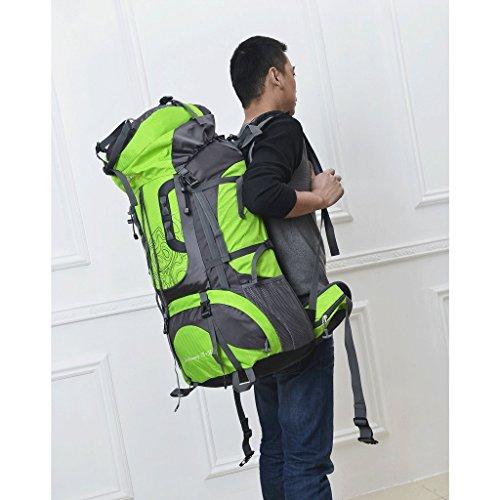 Nuovi 80L all'aperto professionisti uomini e donne sacchetto di alpinismo tracolla zaino grande capacità borsa zaino verde