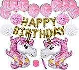 Decoración de Fiesta de Cumpleaños, Globos Unicornio Helio Gigante & Banner de Feliz Cumpleaños con Látex Globos Rose y Cinta Cumpleaños Partido Fuentes para Niña