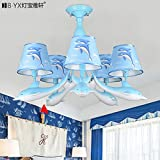 Lfnrr Hochwertige American Country Mediterrane Dolphin Kinderzimmer Deckenleuchte Junge Mädchen Zimmer Led Lampe Cartoon Deckenleuchte, Weißes Licht