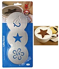 Heart Design Stainless Steel Coffee Stencil, 3 Design, 1 Piece