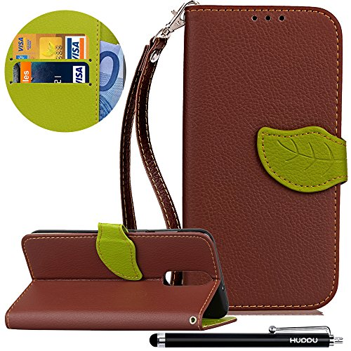 HUDDU Braun Schutzhülle für Huawei Mate 10 Lite Hülle Blatt Magnet Design Slim Handyhülle Leder Tasche Wallet Case Cover Flip Kartenfach Magnetverschluss Stand Brieftasche Klapphülle