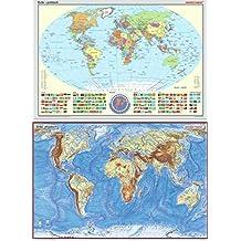 Westermann Posterkarte Erde Set politisch und physisch 1 : 40 000 000: Staaten mit Flaggen. Format 100 x 70 cm