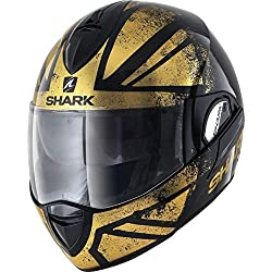 Shark Casque moto EVOLINE 3 TIXER KUQ, Noir/Or, XL
