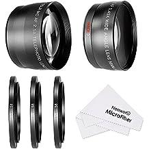 Neewer® 58mm 0,45x gran angular y teleobjetivo 2,5x lente Kit con 3step-up anillo adaptadores (49–58mm 52–58mm 55–58mm), parte delantera y trasera cubiertas de objetivo, lente de microfibra paño de limpieza y fundas