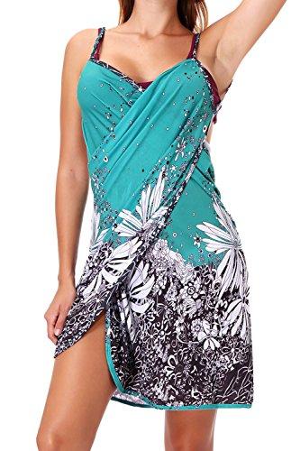 äger Rückenfrei V-Ausschnitt Strandkleid Damen Blumen Gedruckt Strand Wickeltuch Kleider Bikini Cover-ups Wrap Sundresses Badeanzüge Bademode Handtuch Spa Schwimmen Kleid ()