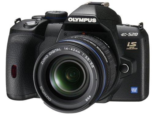 Olympus E-520 SLR-Digitalkamera (10 Megapixel, LifeView, Bildstabilisator) Kit inkl. 14-42mm Objektiv (Digitale Slr-kameras Von Olympus)