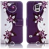 Sony Xperia T3 Handy Tasche mit Motiv Schutz Hülle aus PU Leder mit Kartenfächer und Standfunktion Etui Flip Case Wallet mit Purple White Flower Abbildung Motiv: QJC-364