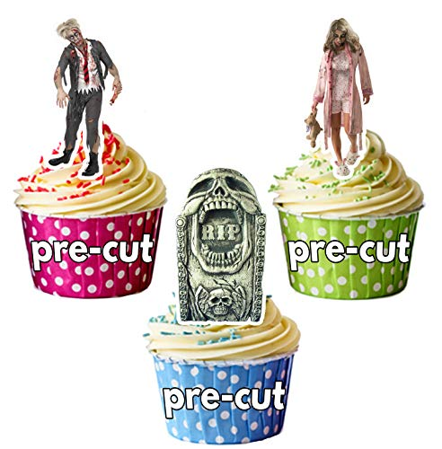 Vorgeschnittene Halloween Zombie Grabsteine Mix - Essbare Cupcake Topper / Kuchendekorationen (12 Stück)