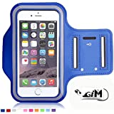 GIM Bleu foncé Brassard Armband Sport jogging Housse brassard néoprene avec bande velcro et Sangle Réglable pour iphone 6 Plus 6S Plus samsung S6 edge Plus S7 S7 EDGE Note 5 Note 7 Huawei Sony LG Xiaomi ASUS et smallphone 5.2'' à 6''