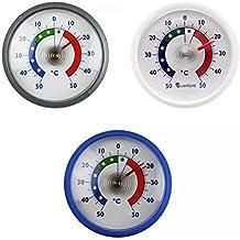 Lantelme 4057 Pack de 3 thermomètres analogiques de réfrigérateur / frigo - ronds autoadhésifs - en bleu, blanc et argenté - échelle +/- 50 °C