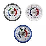 3 Stück Set Rundes Bimetall Analog Klebe Kühlschrankthermometer in blau , weiß , silber . Kühlschrank Thermometer Temperatur Anzeige + / - 50 °C .