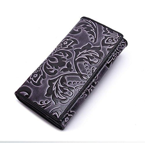T-FBW Brieftasche für Damen Damen Geldbörse - Scheckheft Abdeckung Lange geprägte Handtasche 30 Falten Multifunktions Brieftasche (Farbe : Schwarz) (Brieftasche Damen-scheckheft)