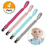 Schnullerband Baby Schnullerketten Clips 4Pcs Edelstahl Schnullerband Klemmen für Junge Mädchen Baumwolle Schnullerband Stoff für Lätzchen Dreieckstuch Sauger Schnuller