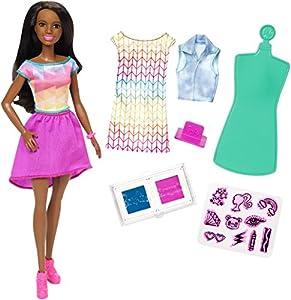 Barbie Crayola Muñeca con Accesorios para Estampar y Diseñar Ropa (Mattel FRP06)