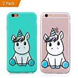 KM-Panda Coque Apple iPhone 6S Plus 6 Plus Licorne Bleu + Transparent Silicone TPU...