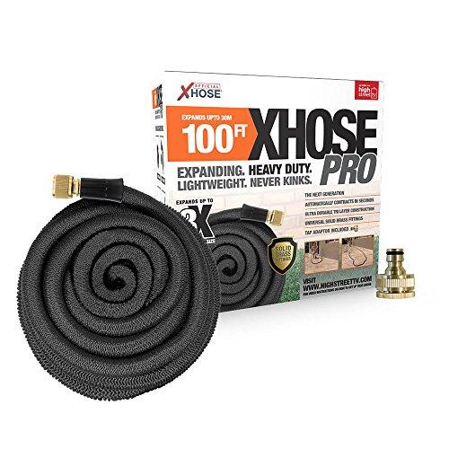 XHose Pro 30,5 m Super léger Extensible Tuyau d'arrosage avec raccords de Laiton Massif - Noir