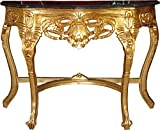 Casa Padrino Barock Konsolentisch Gold / Schwarz mit Marmorplatte Mod2 - Konsole
