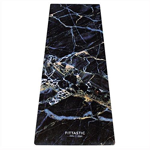 Fittastic All-in-One Yogamatte rutschfest - Marble Design Naturkautschuk - schadstofffrei - Studio Fitness-Matte - Gymnastik-Matte - 3,5 mm - 180 x 61 cm (Black Marble)