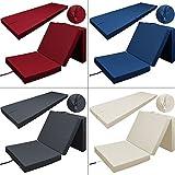 Klappmatratze Faltmatratze Matratze Gästebett Gästematratze Bett Liege - waschbarer Bezug - bis zu 3x faltbar - Tragegriff - platzsparend - Farbe: Beige - Farbwahl