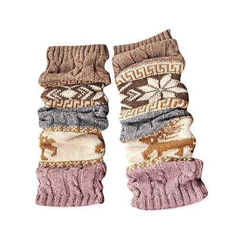 UJUNAOR Frauen Kitz Schneeflockensocken Kniebundstrumpf Teppichsocken Warme Winter Socken(Khaki,One Size) -