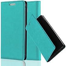 Cadorabo - Funda Book Style Cuero Sintético en Diseño Libro Samsung Galaxy ALPHA - Etui Case Cover Carcasa Caja Protección con Imán Invisible en TURQUESA-PETROL