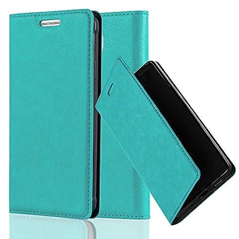 Cadorabo - Book Style Schutz-Hülle mit Standfunktion für Samsung Galaxy ALPHA mit unsichtbarem Magnet-Verschluss - Case Cover Schutzhülle Etui Tasche mit Kartenfach in PETROL-TÜRKIS