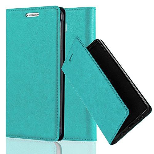 Cadorabo Hülle für Samsung Galaxy Alpha - Hülle in Petrol TÜRKIS – Handyhülle mit Magnetverschluss, Standfunktion und Kartenfach - Case Cover Schutzhülle Etui Tasche Book Klapp Style