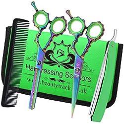 professionnel de coiffure ensemble de ciseaux de cheveux - Salon d'esthétique - Parfait pour Coupe de cheveux avec Style - ciseaux de coiffure - de coiffure et Salon amaigrissement ciseaux set - étui