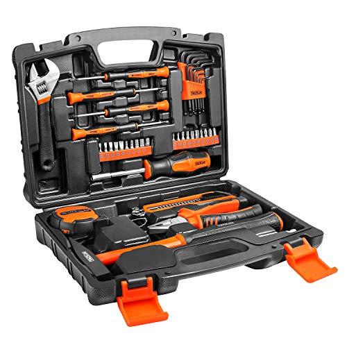 Haushalts-Werkzeugkoffer, TACKLIFE, 42-teilig Werkzeug-Set, Inkl. Hammer, Schraubendreher, Innensechskantschlüssel, Perfekt für alle DIY anfallenden Arbeiten rund um Haus - HHK1A