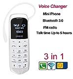 LONG CZ J8 3in1 World Smallest Thinnest Mobile Phone Voice Change FM GSM Miro SIM 18grams (White)