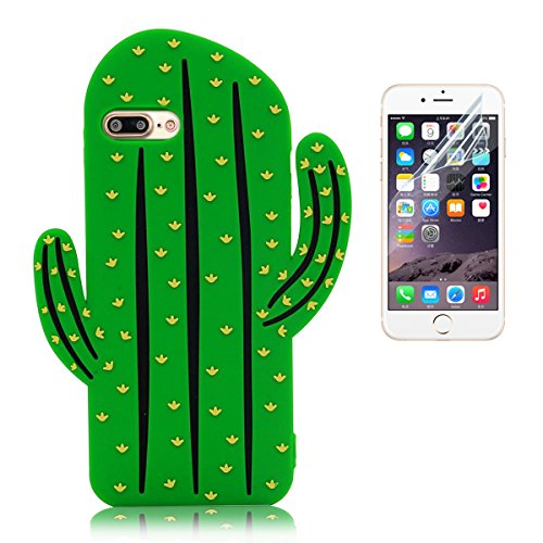 iPhone 7 Plus Custodia Silicone (5.5) , iPhone 7 Plus Cover , Bonice Morbido TPU Rubber Silicone Cartoon Cactus Case + 1x Protezione Dello Schermo Screen Protector