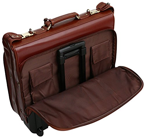 S Babila Top Grain Leather Wheeled Travel Suit / Dress Bag