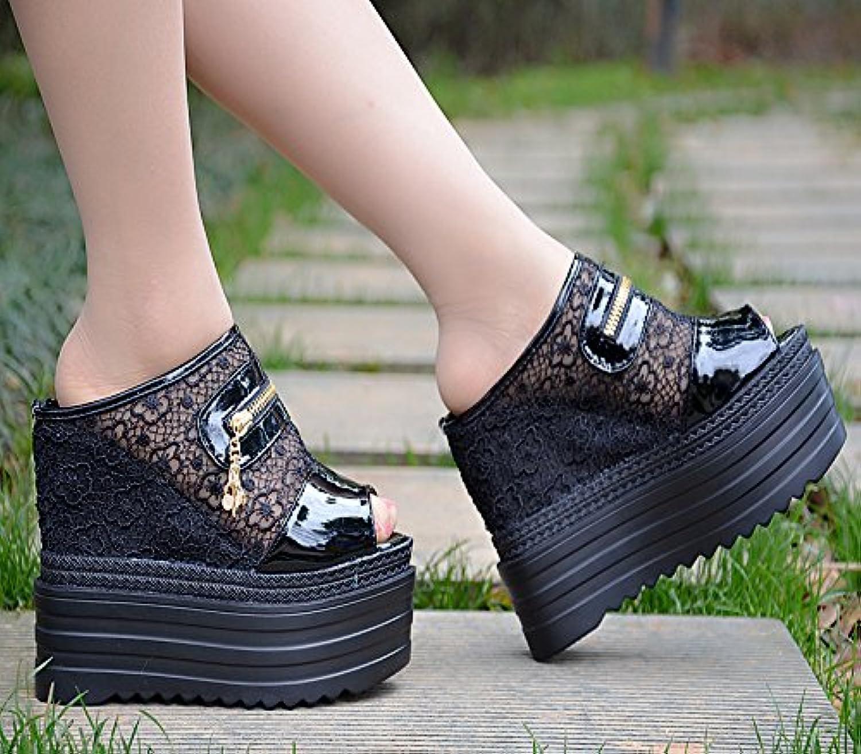 XiaoGao 13 centímetros de alto en verano super zapatillas de tacon,Black