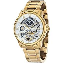 Reloj Longitude para hombre de la marca Thomas Earnshaw con esfera analógica de color blanco y brazalete de acero inoxidable chapado en oro – ES-8006-22