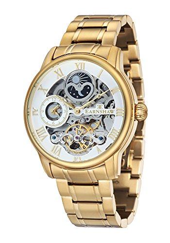 Montre Longitude pour homme Thomas Earnshaw avec cadran blanc analogique et bracelet en acier inoxydable plaqué or – ES-8006-22