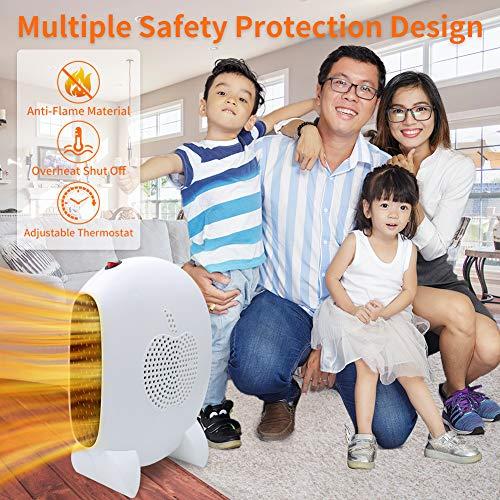 Calefactor Portátil, Mini Calefactor Eléctrico 1000W Ahorro de energía Calefactor de Aire Caliente PTC Elemento de Cerámico Calentador Rápido para Habitación,  Oficina, Baño