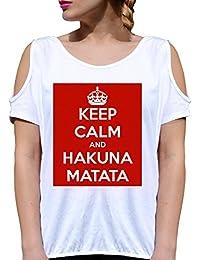 T SHIRT JODE GIRL GGG27 Z2785 KEEP CALM AND HAKUNA MATATA LIFESTYLE FUNNY FASHION COOL BIANCA - WHITE XL