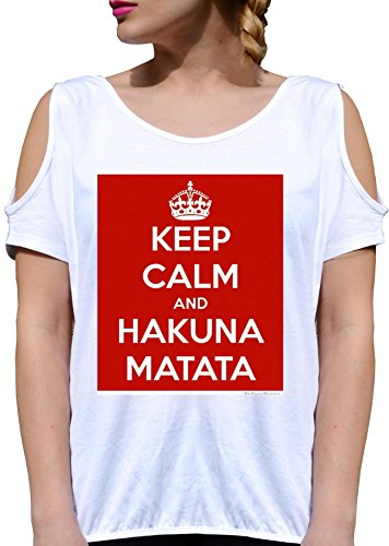 T SHIRT JODE GIRL GGG27 Z2785 KEEP CALM AND HAKUNA MATATA LIFESTYLE FUNNY FASHION COOL BIANCA - WHITE XL