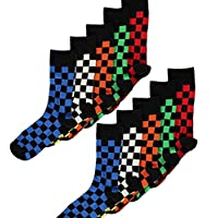 Mens/Boys 10 Pack Cotton Rich Designer Check Socks Retro Mod Block Design
