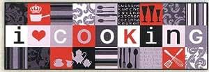 Läufer i love cooking rouge de la collection salonloewe, 60 x 180 cm-lavable en machine