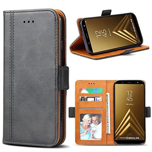 Bozon Galaxy A6 2018 Hülle, Leder Tasche Handyhülle für Samsung Galaxy A6 (2018) Schutzhülle Flip Wallet mit Ständer und Kartenfächer/Magnetverschluss (Dunkel Grau) - Dunkel Grau Leder