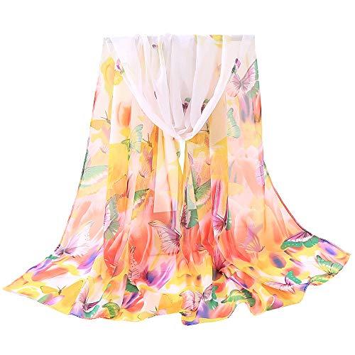 Fenverk Mode Frau Schmetterlinge Drucken Lange Weich Wickeln Schal Schals GroßE GrößE Modisch Gedruckt Multi Zweck Damen Blume Wraps,160x50cm(Gelb)