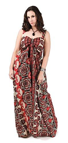 #4228 Damen Kleid Maxikleid lang Sommerkleid Patchwork Übergrösse XXL große Größen 40 42 44 46 48 50 52 Schwarz Rot