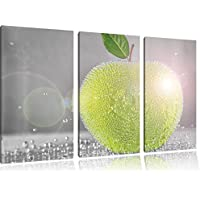 pomme juteuse vert avec des perles d'eau noir / blanc 3 pièces image toile 120x80 image sur toile, XXL énormes Photos complètement encadrées avec civière, art impression sur murale avec cadre, moins cher que la peinture ou une peinture à l'huile, pas une affiche ou une bannière,