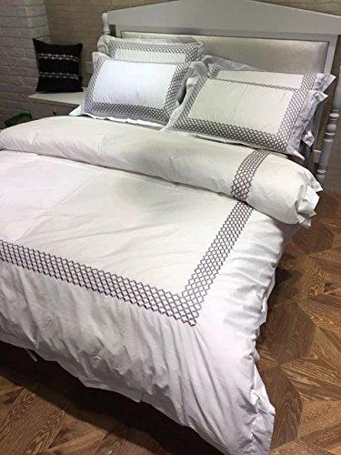 4 Stück 100% Baumwolle Hotel betten King Queen Size Bettwäsche Weiß Luxus Stickerei Set Federbett Doppelbett Bettwäsche Silber Graue Abdeckungen (King Stickerei Hotel)