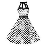 SamMoSon Kleider Sommerkleider Damen Sommerkleid Tops Kleid Strandkleider Knielang Partykleid Minikleid Frauen Abendkleid Cocktailkleid Beiläufiges Retro Vintage Hepburn Punktdruck Bandage Dress