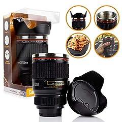 Idea Regalo - TwitFish® - Tazza a Forma di Obiettivo per Fotocamera, con Rivestimento Termico in Acciaio Inox e Coperchio ermetico a Forma di Vassoio per Biscotti, Colore: Nero